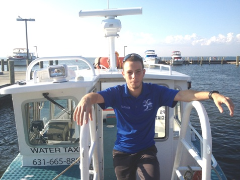 Capt. Vince Aboard his Fire Island Water Taxi